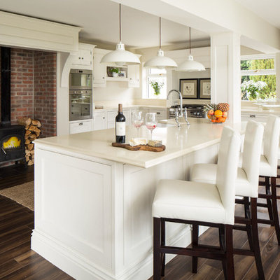 Eat-in kitchen - traditional dark wood floor eat-in kitchen idea in Dublin with shaker cabinets, white cabinets and stainless steel appliances