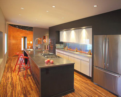 Contemporary Galley Kitchen Idea In Other With Stainless Steel Appliances,  An Integrated Sink, Flat