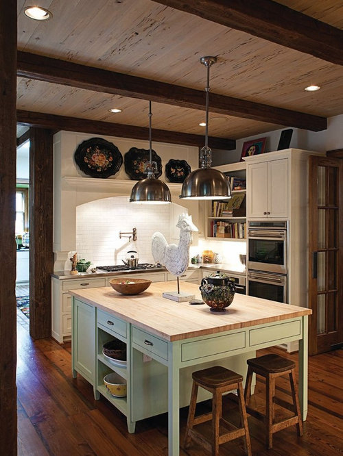 Inspiration for a timeless kitchen remodel in Dallas with wood countertops - Cork Ceiling Houzz