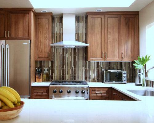 Slim Kitchen Design Ideas Renovations Photos with Brown