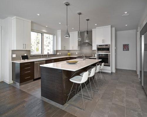 Edmonton Kitchen Design Ideas Renovations Photos With Flat Panel Cabinets