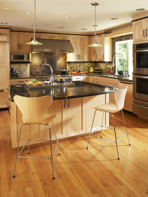 Natural Maple Cabinets | Houzz on Maple Cabinets With Black Countertops  id=78609