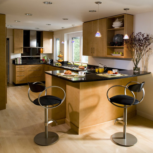 Contemporary Kitchen Idea In San Francisco With Flat Panel Cabinets, Medium  Tone Wood Cabinets