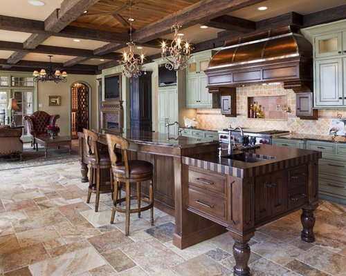 Travertine kitchen floor home design ideas renovations for Traditional kitchen flooring