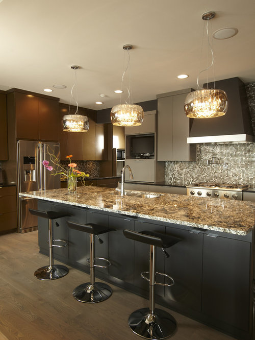 houzz kitchen lighting. Kitchen - Contemporary Idea In Minneapolis With Flat-panel Cabinets And Brown Houzz Lighting