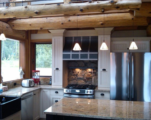 Charming Inspiration For A Rustic Kitchen Remodel In Calgary With Stainless Steel  Appliances And A Farmhouse Sink. Save Photo. Traditional Log Homes Ltd Nice Design