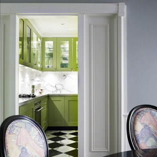 Contemporary enclosed kitchen pictures - Enclosed kitchen - contemporary marble floor and multicolored floor enclosed kitchen idea in Sydney with glass-front cabinets, green cabinets, white backsplash and marble backsplash