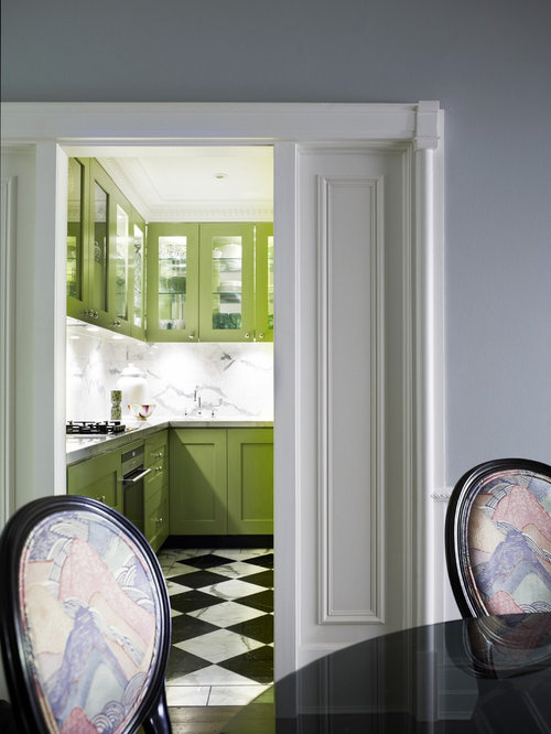 black and white marble floors. Enclosed kitchen  contemporary marble floor and multicolored enclosed idea in Sydney with glass Black And White Marble Floors Houzz