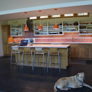 シカゴの中サイズのエクレクティックスタイルのおしゃれなキッチン (アンダーカウンターシンク、シェーカースタイル扉のキャビネット、中間色木目調キャビネット、クオーツストーンカウンター、オレンジのキッチンパネル、モザイクタイルのキッチンパネル、白い調理設備、コンクリートの床、黒い床) の写真