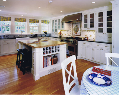 Inspiration For A Timeless L Shaped Kitchen Remodel In Other With  Glass Front Cabinets