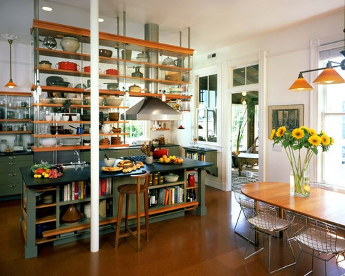 Inspiration for an industrial galley eat-in kitchen remodel in San  Francisco with open cabinets