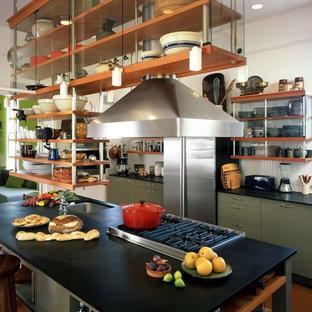 サンフランシスコのインダストリアルスタイルのおしゃれなII型キッチン (シルバーの調理設備、オープンシェルフ、緑のキャビネット) の写真