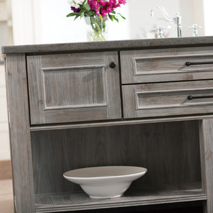 Kitchen Island Table and Cabinets with a Weathered Wood Artisan Finish from Dura