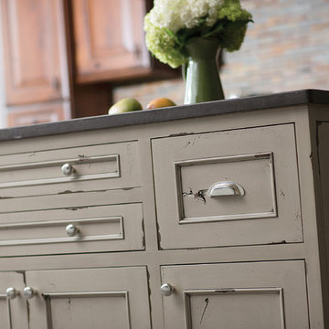 Kitchen Island with a Heritage Paint Artisan Cabinet Finsih from Dura Supreme Ca