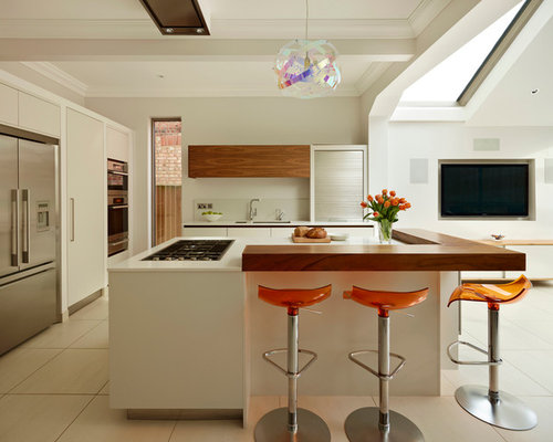 Large trendy l shaped open concept kitchen photo in London with an  undermount sink Kitchen Island Breakfast Bar   Houzz. Kitchen Island With Breakfast Bar. Home Design Ideas