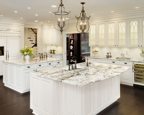 Delightful Example Of A Classic Kitchen Design In Chicago With Glass Front Cabinets, A  Single