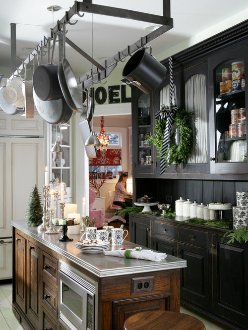 Inspiration For A Timeless L Shaped Enclosed Kitchen Remodel In Chicago  With Distressed Cabinets,