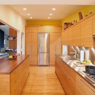 Design ideas for a contemporary kitchen in DC Metro with stainless steel appliances, stainless steel benchtops, an integrated sink, metallic splashback and metal splashback.