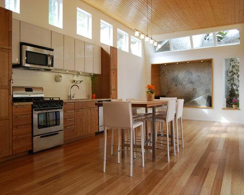 Small Modern Kitchen Ideas   Kitchen   Small Modern Single Wall Bamboo  Floor Kitchen Idea