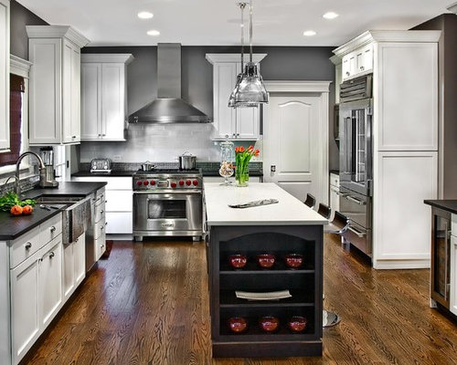 gray and white kitchens | houzz