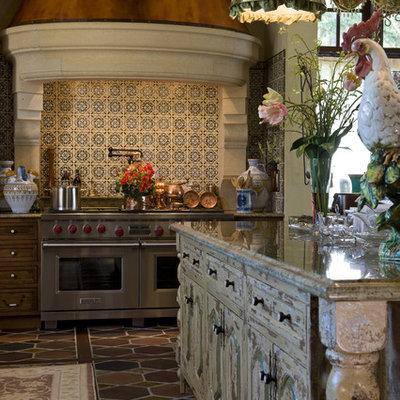 Kitchen - traditional terra-cotta tile kitchen idea in Minneapolis