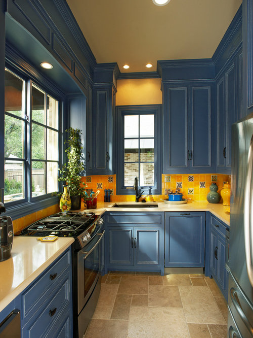 Blue And Yellow Kitchen Home Design Ideas, Pictures, Remodel and Decor