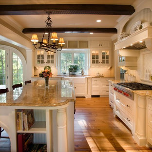 Traditional kitchen pictures - Inspiration for a timeless kitchen remodel in Minneapolis with glass-front cabinets, a farmhouse sink and granite countertops
