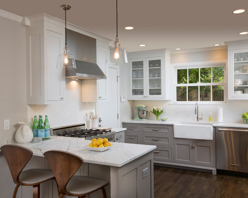 Interior Lower Cabinets dark lower cabinets white upper houzz transitional u shaped wood floor kitchen photo in columbus with a farmhouse sink