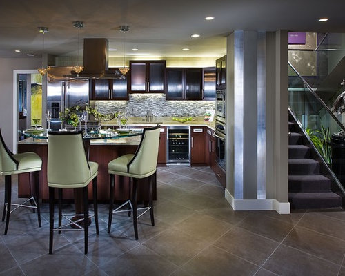 Example Of A Trendy Galley Ceramic Floor Eat In Kitchen Design In Orange  County With