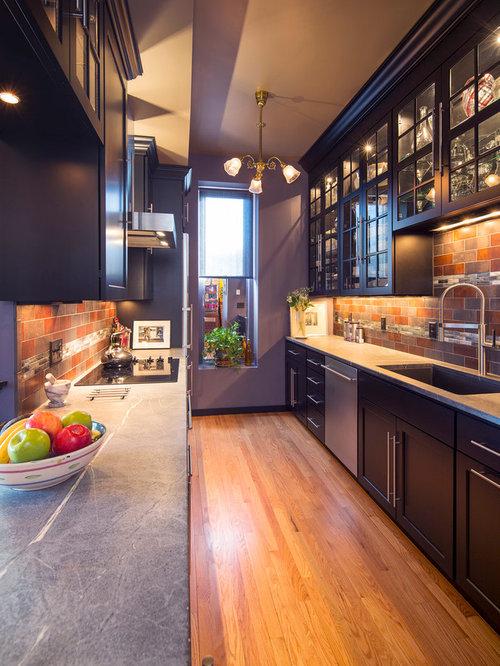 Galley kitchen backsplash houzz for Single wall galley kitchen