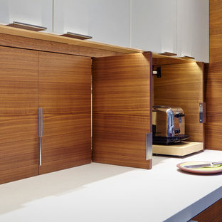 Photo of a contemporary galley kitchen/diner in San Francisco with a submerged sink, flat-panel cabinets, dark wood cabinets, engineered stone countertops, white splashback, porcelain splashback, stainless steel appliances, dark hardwood flooring and no island.