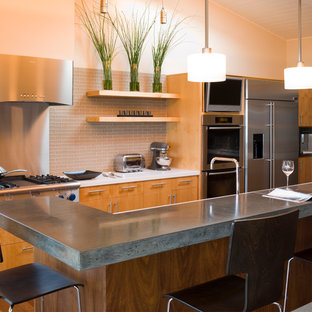 Superieur Example Of A Trendy Kitchen Design In San Francisco With Stainless Steel  Appliances, Concrete Countertops