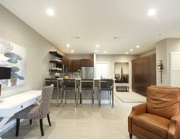 Kitchen off Living Room with Pantry Storage and Murphy Bed