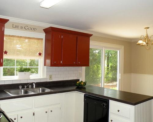 Küchen mit roten Schränken und Laminat-Arbeitsplatte Ideen, Design ...