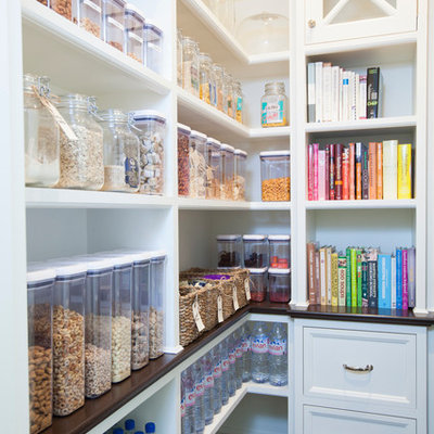 Example of a mid-sized classic kitchen pantry design in San Diego with open cabinets and white cabinets