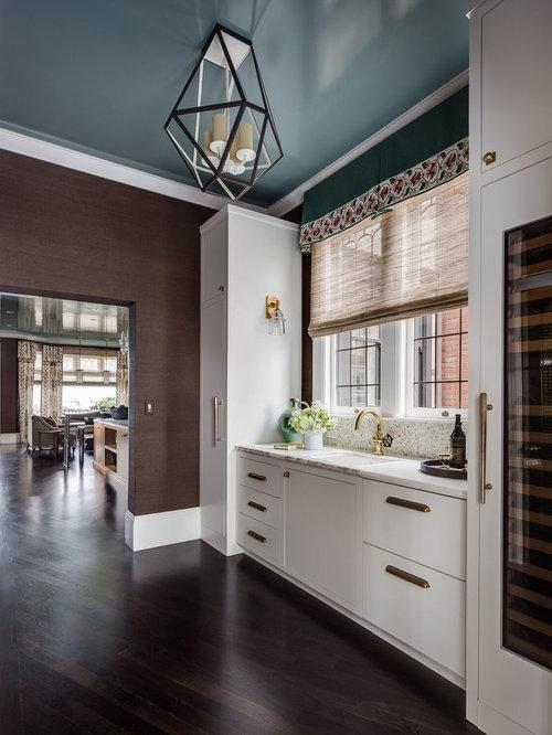 cuisine avec des portes de placard blanches et un plan de travail en terrazzo photos et id es. Black Bedroom Furniture Sets. Home Design Ideas