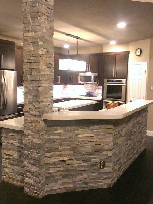 Kitchen Peninsula Wall And Column Facade Stacked Stone