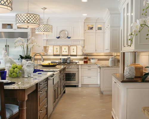 Large Traditional Kitchen Idea In New York With A Farmhouse Sink Raised Panel Cabinets