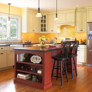 Red Cabinets And Soapstone Countertops