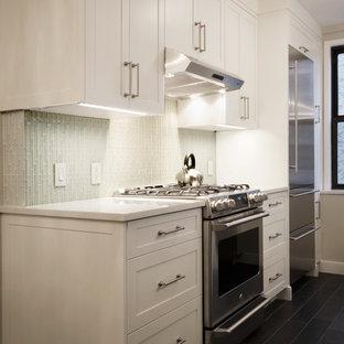 Foto de cocina comedor de galera, moderna, pequeña, con una isla, armarios estilo shaker, puertas de armario blancas, encimera de cuarcita, salpicadero blanco, electrodomésticos de acero inoxidable, fregadero bajoencimera, suelo de baldosas de porcelana y salpicadero de azulejos de vidrio