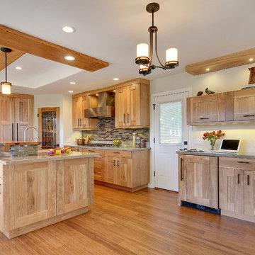 Kitchen - red birch cabinets, quartz and live wood edge countertops