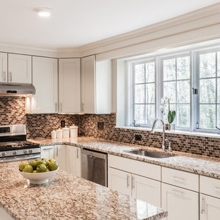 Example Of A Large Transitional U Shaped Ceramic Floor Open Concept Kitchen  Design In DC