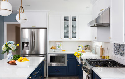 Before and After: Brass and Navy Pair Nicely in the Kitchen