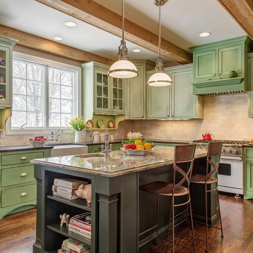 Dorian Green Counter Top Kitchens: Green Kitchen Cabinets