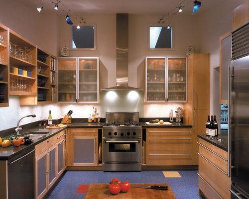Slim Kitchen Design Ideas Renovations Photos with Light