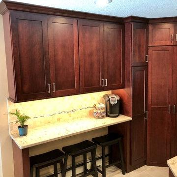 Kitchen Remodel-Cherry Burgundy Koch Cabinets Cambria Windemere