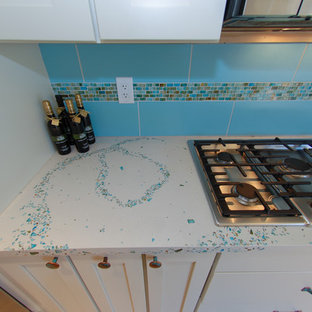 Large contemporary eat-in kitchen inspiration - Inspiration for a large contemporary eat-in kitchen remodel in Philadelphia with concrete countertops, blue backsplash and turquoise countertops