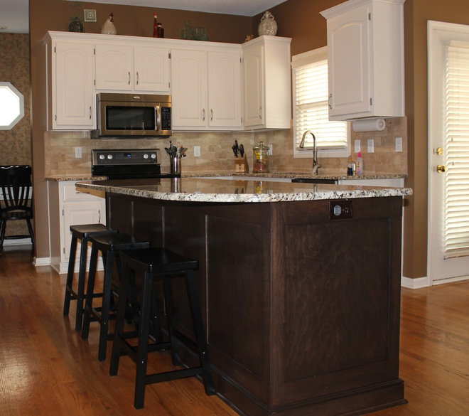 Remodeled Kitchens With White Cabinets: White Cabinets Dark Island