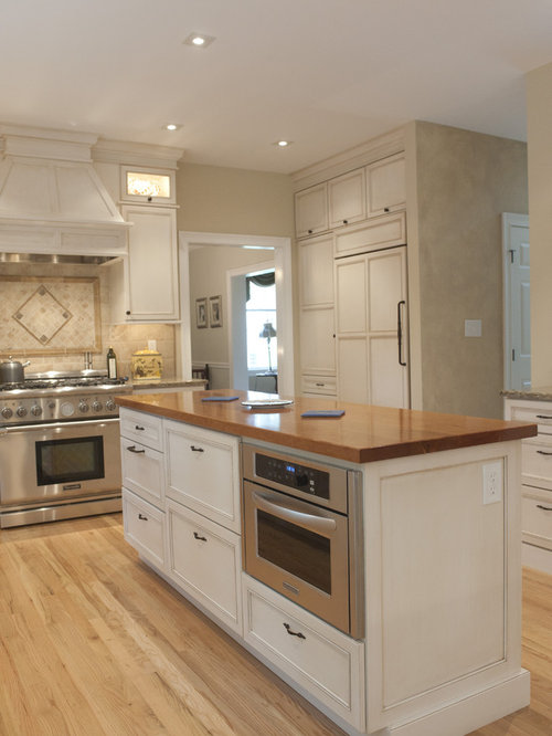 Traditional Kitchen Idea In Philadelphia With Wood Countertops
