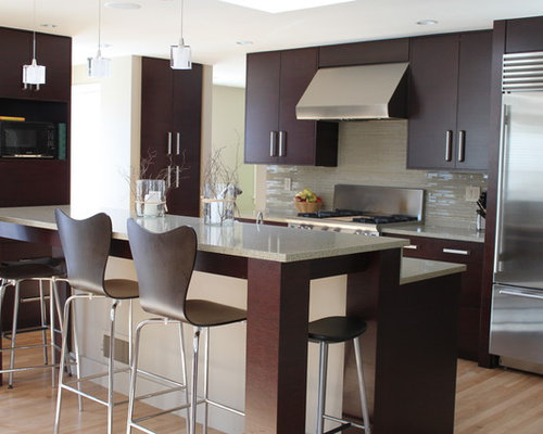 Example Of A Trendy Galley Kitchen Design In Boston With Stainless Steel Appliances Flat